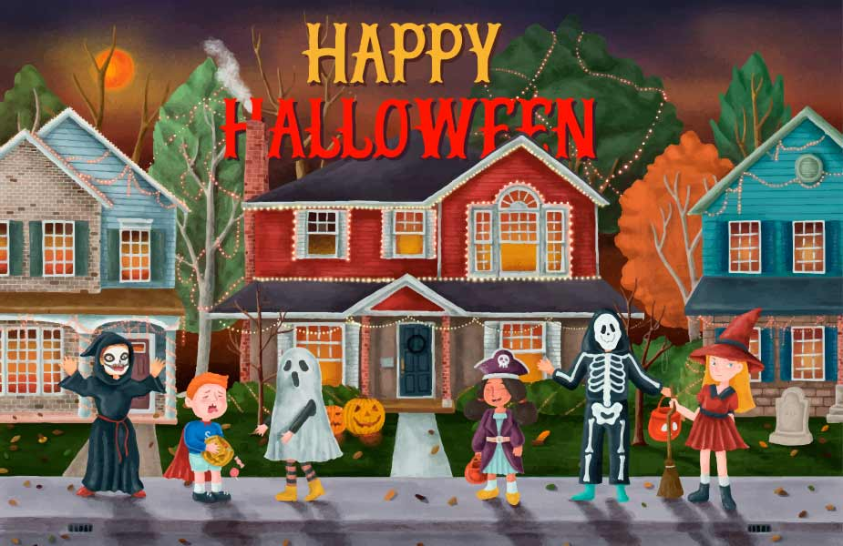 Cartoon image of kids dressed in costumes trick or treating for Halloween