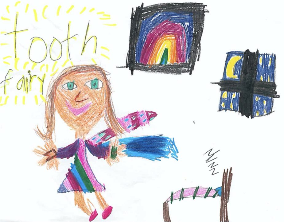 Drawing of the Tooth Fairy to celebrate National Tooth Fairy Day on February 28